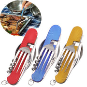1 Pcs 4 In 1 Stainless Steel Folding Knife And Fork Combination Portable Detachable Multi-purpose Outdoor Camping Tools