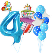 10 Pcs Baby Shower 1st 2 3 4 5 Birthday Party Decor 40inch Number Foil Balloons Supplies Baby Boy Girl Balls Latex Helium Globos
