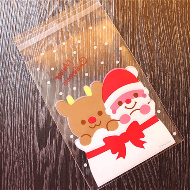 100 Pcs Candy Bags Cute Sachet Bag Pattern Of Santa Claus Bag Pouch For Candy Biscuit Chocolate Candy Sweets Candy Gift