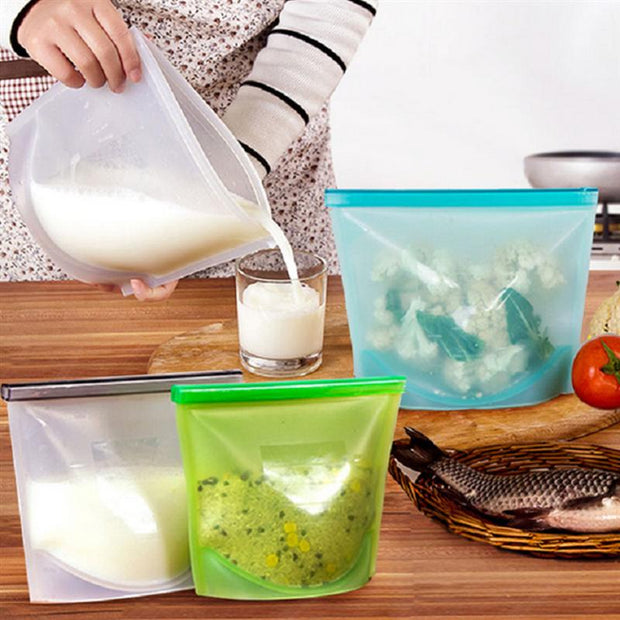 1000ML Silicone Slide Reusable Storage Bags Fresh Bag Vacuum Sealed Bag For Storage And Freezer Food (Green)