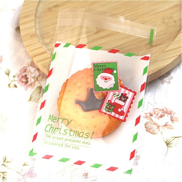 100PCS/Lot Christmas Gift Bags Self-adhesive Plastic Bags Wedding Party Decoration Chocolate Packaing Candy Bag Pouch 7 Colors