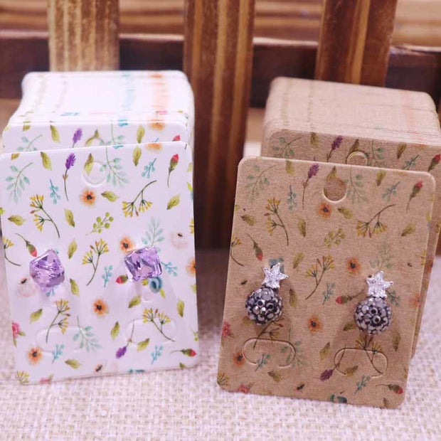 100Pcs NEW Diy Jewelry Display Card 4x5cm Earring Card Hang Tag Card Floral Dotted DIY Jewelry Stud Earring Package Cards