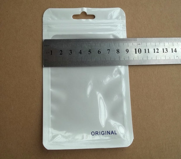 100pcs 9*15cm Clear White Plastic Zipper Retail Package Zip Lock Poly PP Bag, For Samsung USB Cable Charging Packaging Bags