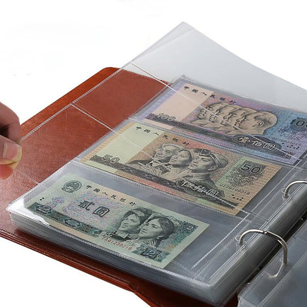 10Pcs Money Banknote Paper Money Album Page Collecting Holder Sleeves 3-slot Loose Leaf Sheet Album