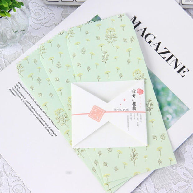 10pack/lot Fresh Rural Hello Plant Envelope Letter Pad Set Writing Paper For School Office Supplies Party Invitation