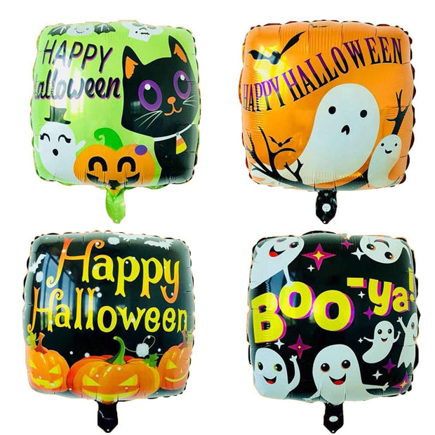 10pcs 18inch Square Foil Balloons Halloween Decorations Children's Inflatable Toys Round Halloween Helium Balloon Party Supplies