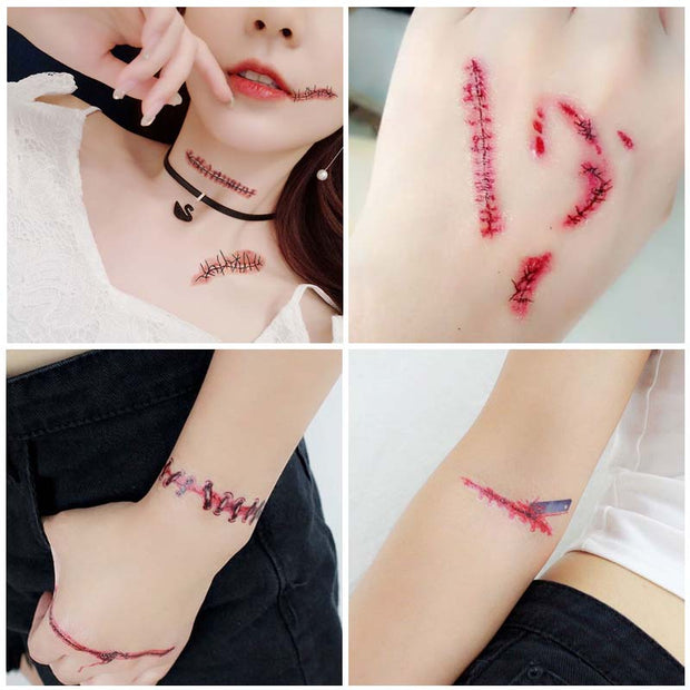 10pcs Halloween Zombie Tattoo Horror Scars Simulation Temporary Sticker 3D Bite Mark Fake Scab Blood Costume Neck Decoration
