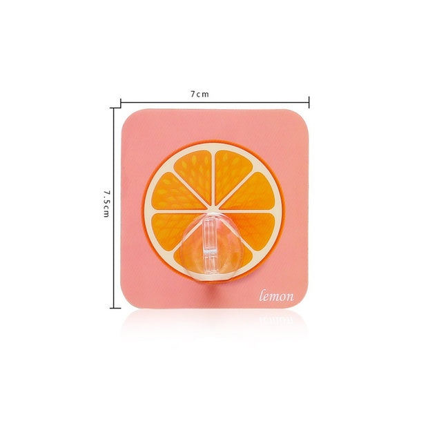 10pcs/Pack Fruit Pattern Strong Sticky Hooks Hangers Organizer Wall Hanging Self-adhesive Stroage Hook Stick On Heavy Duty Hook