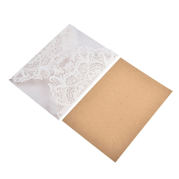 10pcs/lot Elegant Invitation Card Flower Delicate Carved Lace Wedding Invitation Cards With Hemp Rope For Wedding Party Decor