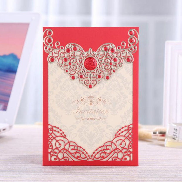 10pcs/lot Romantic Wedding Invitation Card Middle East Hollow Wedding Party Cards Laser Cut Card With Blank Inner Card
