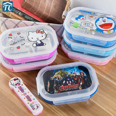 1100ml Stainless Steel Lunch Box Children Insulation Large Cartoon Cute Student Compartment Bento Kids Food Container School