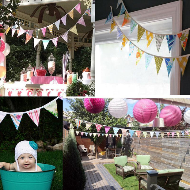12 Flags 3.2m Cotton Pennant For Party Wedding Pennant Decor Coffee