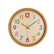 12 Inch Large Decorative Silent Colorful Number Wall Clock Non Ticking Kids Wall Clock Vintage Style Battery Operated