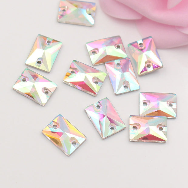 13x18mm Rectangular 2 Holes Sew On Rhinestones Dress Accessories Glass Stones And Crystals Sewing Strass Rhinestones For Garment
