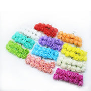 144 Pcs/pack Mini Foam Rose Artificial Flowers For Home Wedding Car Decoration DIY Pompom Wreath Bridal Flower Fake Flower
