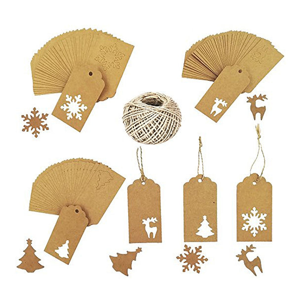 150PCS/Lot Paper Tags Hollow Christmas Tree Snowflake Reindeer Kraft Paper Card Paper Tags Labels DIY Wedding Party Favors Gift