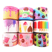 "18091909, 1-1/2"" 38mm,3"" 75mm,10 Yards Food Cake Printed Grosgrain Ribbons DIY Hair Bows Handmade Materials"