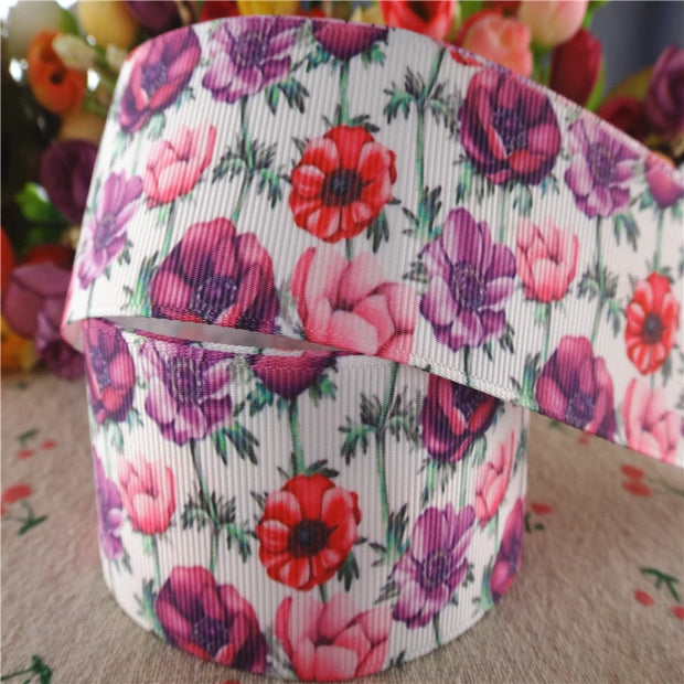 "18102509, 1.5"" 38mm 10 Yards Flowers Printed Grosgrain Ribbons DIY Hair Bows Handmade Materials"
