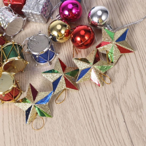 18pcs Colorful Glitter Mini Drums Gifts Stars Balls Christmas Tree Ornaments Hanging Decoration Pendant Christmas Wedding