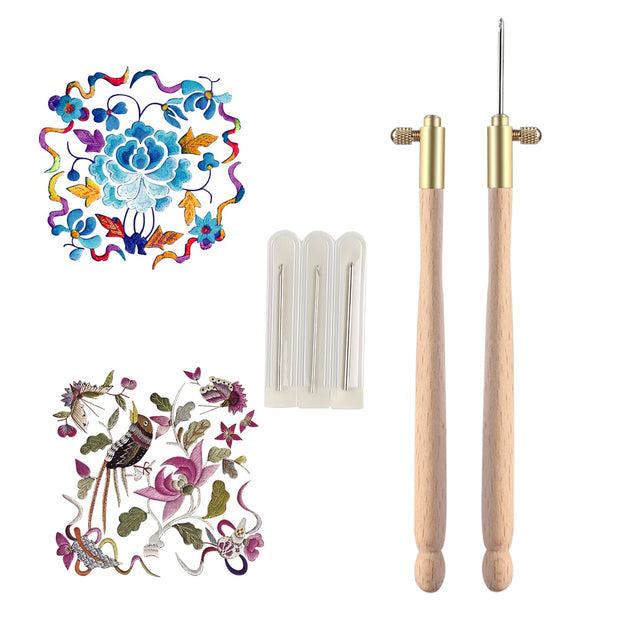 1PC New Popular Practical Wooden Handle Tambour Metal Crochet Hook With 3 Needles Embroidery Beading Crochet Set DIY Craft