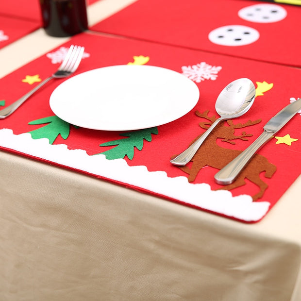 1PCS Christmas Stockings Tablemats Knife Fork Mats Christmas Decorations For Home Feliz New Year Navidad Party Supplies Decor