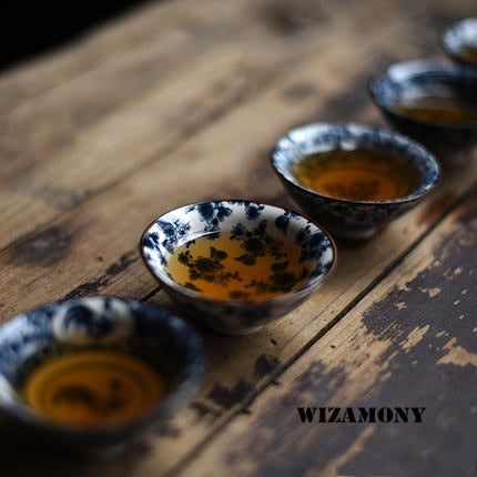 1PCS! WIZAMONY Bue And White Jingdezhen Chinese Porcelain Cup Tea Bowl Teacup Kungfu Tea Set Ceramic Flower Tea Master Cup