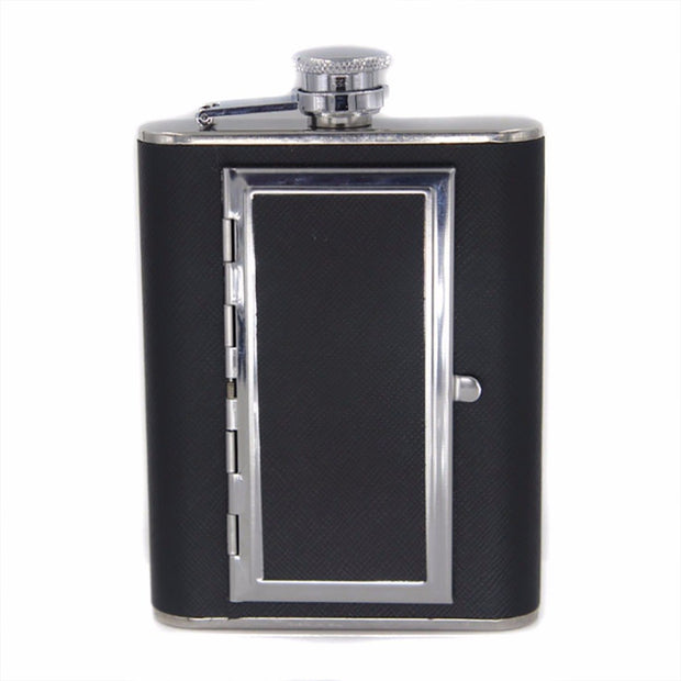 1Pc Portable Stainless Steel Liquor Wine Alcohol Flagon Hip Flask + Cigarette Case