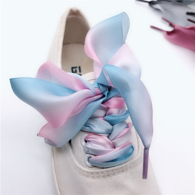 1pairs 3 Color 4 Cm Width Satin Silk Ribbon Shoelaces 80/100/120/140 Cm Length Sneaker Sport Shoes Lace Gradual Change Shoelace
