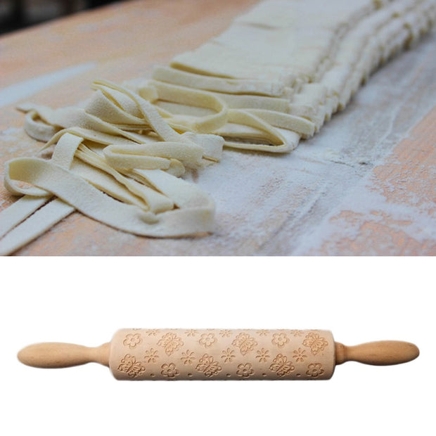 1pcs Creative Baking Printing Wooden Rolling Pin Beautiful Home Tool Rolling Pin For Man Lady Woman