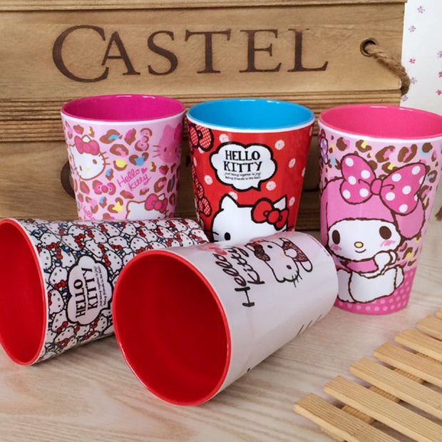1pcs Hello Kitty Cartoon Water Cup Home Plastic Toothbrush Cup Cute Mouthwash Cup Bathroom Accessories