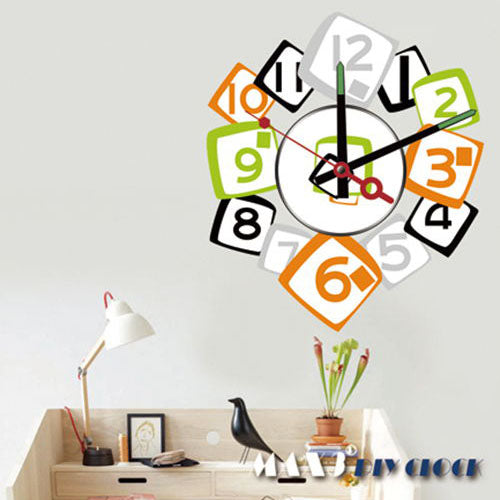 1x Wholesale Large Frameless DIY Wall Stickers Clock Creative Fashion Squared Digits Room Decor Removable Mural Art 10A232 MAX3