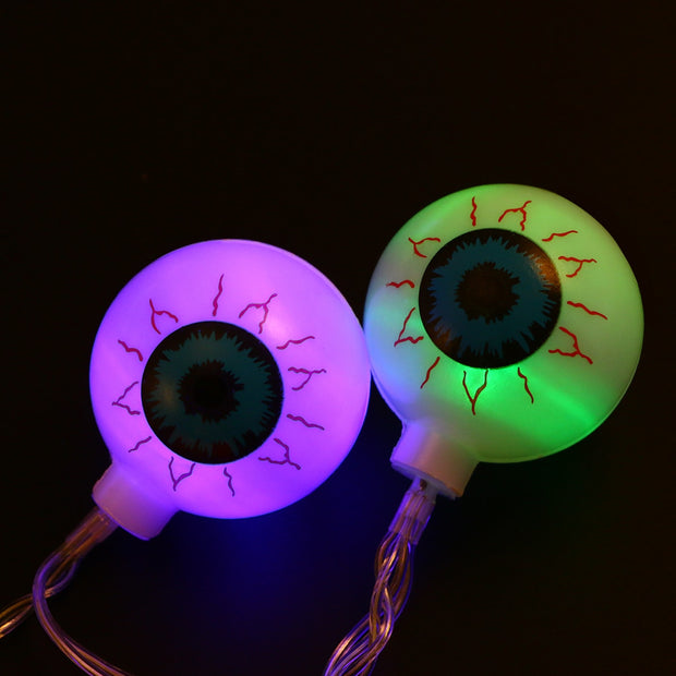 2 Meters 20 LED Spooky Eyeball String Lights Battery Operated Scary Halloween Decorations For Home Party Bar Haunted House Decor
