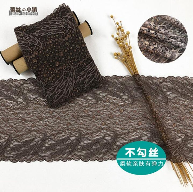 2 Meters Nylon Coffee Sewing Appliques French Net Stretch Lace Trimmings Elastic Lace Trim For DIY Clothing Accessories 17cm
