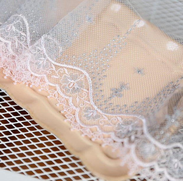 2 Meters Pink Handmade DIY Clothing Accessories Embroidery Silver Lace Fabrics Curtains Sofa Sewing Lace Trim 15.8cm