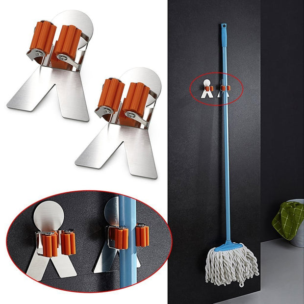2 Pcs Self Adhesive Wall Mounted Mop Hooks Broom Hanger Holder With Spring Clip Design Bath Mounted Home Tools/ Kitchen Organi