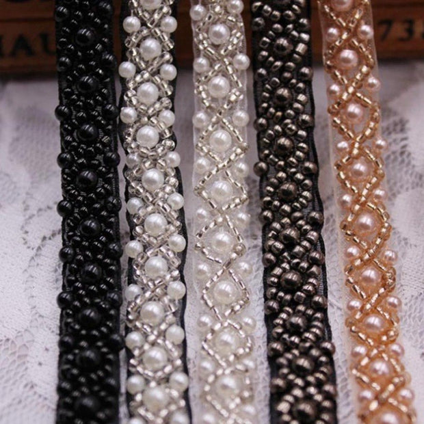 2 Yard/Lot 1.5-2cm White Black Pearl Clothing Accessories Collar Flower Diy Handmade Beading Lace Trim Clothes Lace Fabric