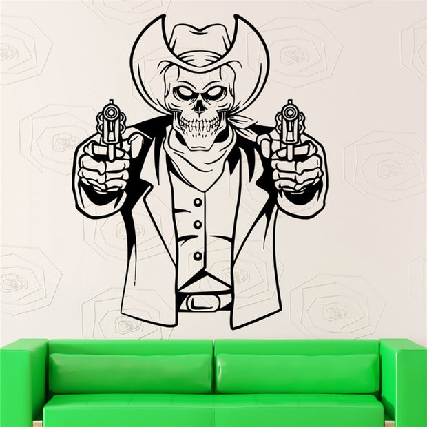 2018 Adesivo De Parede Skeleton Gun Special Wall Sticker Home Rooms Art Unique Decor Removable Poster Vinyl Skull Series M356