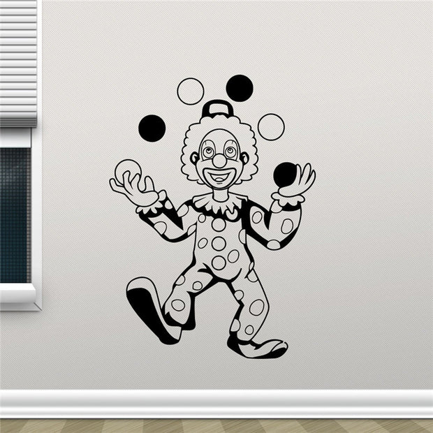 2018 Direct Selling Wall Sticker Clown Circus Wall Decal Vinyl Sticker Juggler Home Decor Kids Room Art Design Bedroom X390