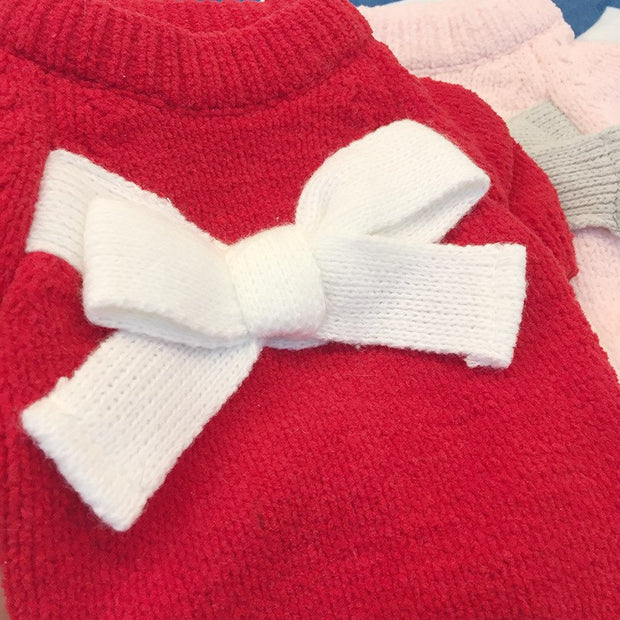 2018 Lovely Autumn Dogs Princess Clothes Pets Mini Bowknot Pink Red Clothes Fashion Cotton Cooling Puppy Clothes Teddy GGC63
