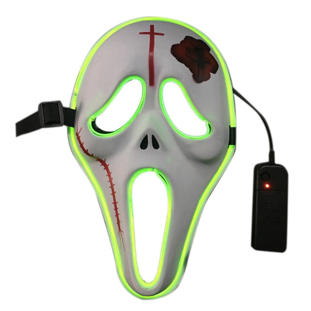2018 New El Cold Light Radiance Mask Faceless Male Horror Halloween Bar KTV Holiday Ball Led Flash Face Mask Festive Supplies
