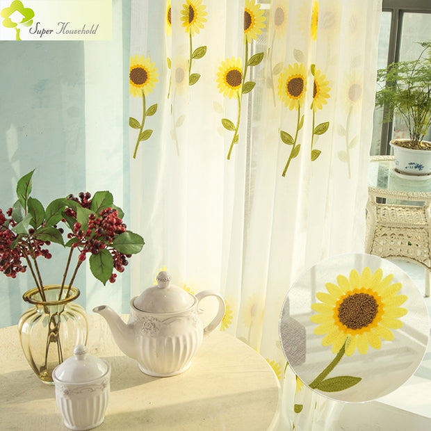 2018 New Sunflower Curtains For Living Room Tulle Window Screening Emb Home Decor