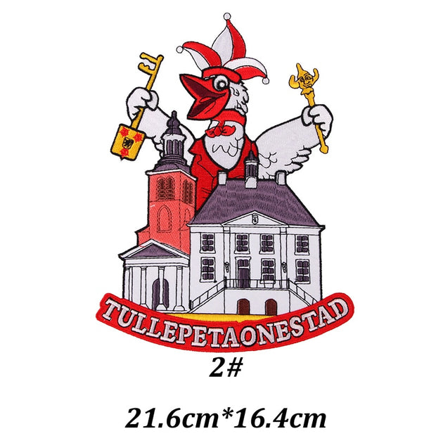2019 Netherlands Carnaval Tullepetaonestad Roosendaal DIY Iron On Patches Badge Clothes Garment Accessories Embroidered Applique