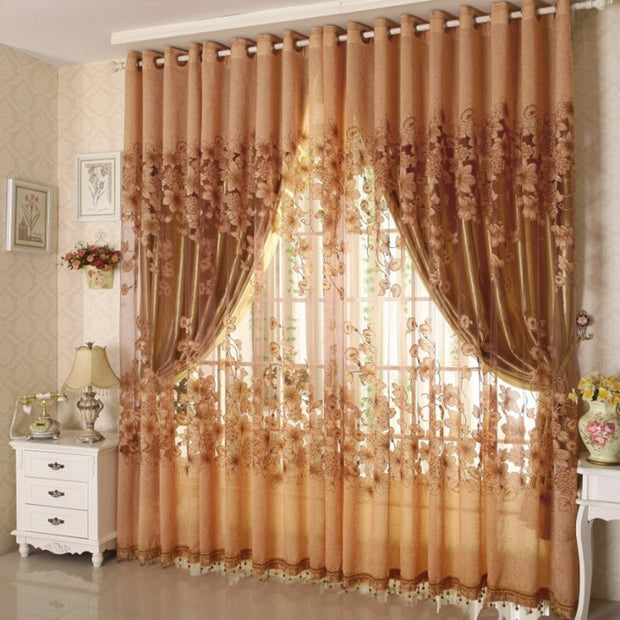 2019 Voile Curtain Window Valance European Lace Curtains Girls ...