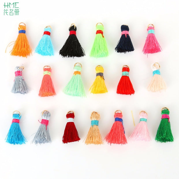 20mm+5mm 100pcs/lot Silk Tassel Charms Necklace Earring Findings Tassels For Jewelry Making Brush Earring Bag Clothing Craft DIY
