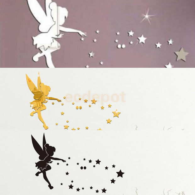 28Pieces 3D Plastic Fairy And Stars Pattern Wall Stickers DIY Decals Wall Mural Art Decor Black/Gold/Silver