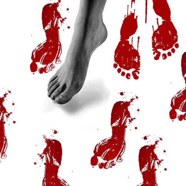 2PCS Horror Zombie Props Haunted House Party Wall Sticker Scary Halloween Bloody Hand-prints Decoration Footprints