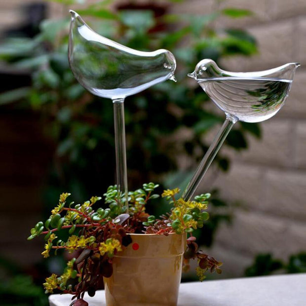 2PCs For Garden Plant Watering Device Indoor Automatic Cute Birds Swan Glass Watering Tools Watering Drip Device 7.20