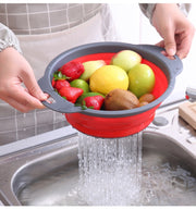 2Pcs Foldable Silicone Colander Fruit Vegetable Washing Basket Strainer Collapsible Drainer With Handle Kitchen Tools