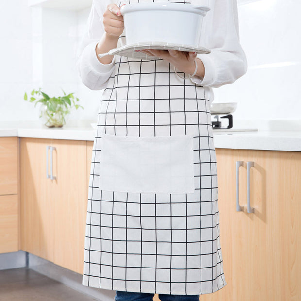 2Pcs Kitchen Apron Black And White Plaid Waterproof Apron Kitchen Cooking Aprons Dining Room Barbecue Restaurant Pocket