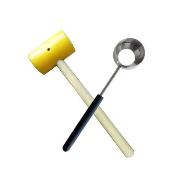 2Pcs/Set Practical 304 Stainless Steel Coconut Opener Tools Set With Wooden Handle Rubber Hammer